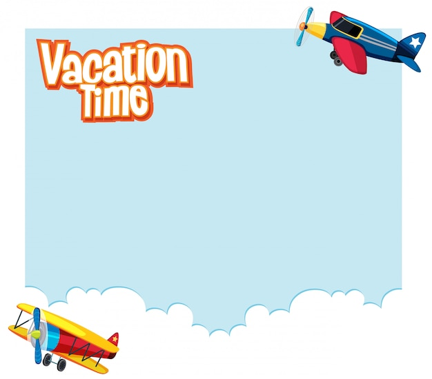 Background design with airplanes flying in the sky. vacation time