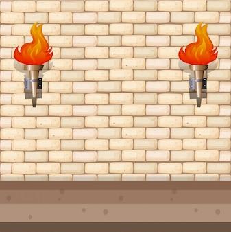 レンガの壁とランタンの背景デザイン