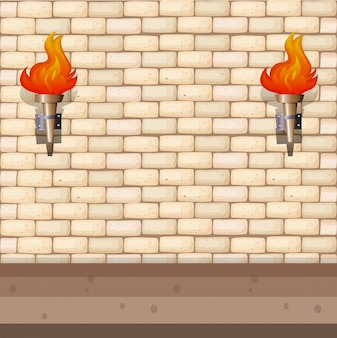 Background design with brick wall and lantern