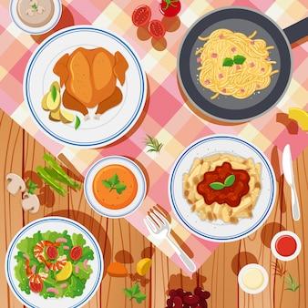 Фоновый дизайн с различными видами пищи на столе