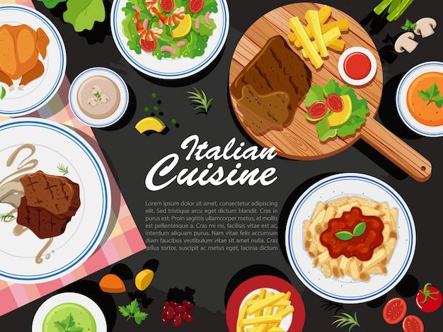Фоновый дизайн с различными видами пищи