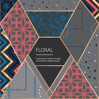 Background design with geometric elements and frowers