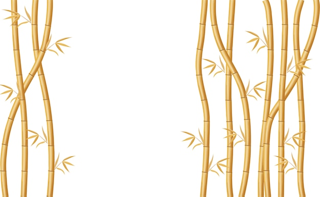 Background design with golden bamboo and green leaves illustration