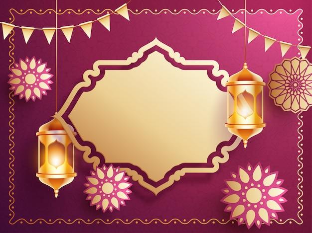 Background design with hanging golden illuminated lanterns