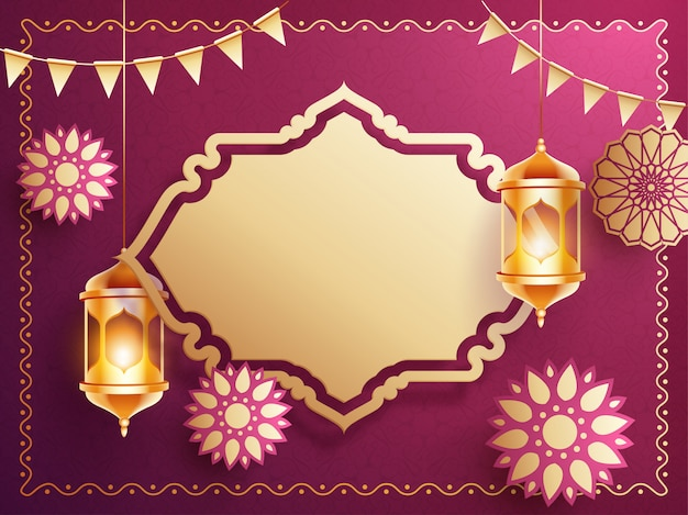 Background design with hanging golden illuminated lanterns