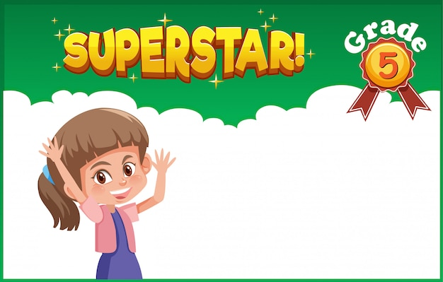 Background design with happy girl and word superstar
