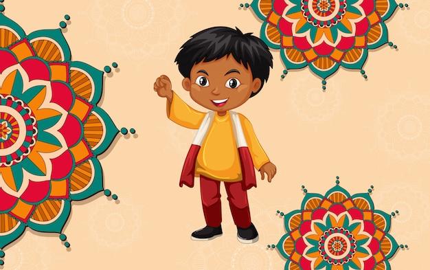 幸せな子供たちとマンダラパターンの背景デザイン