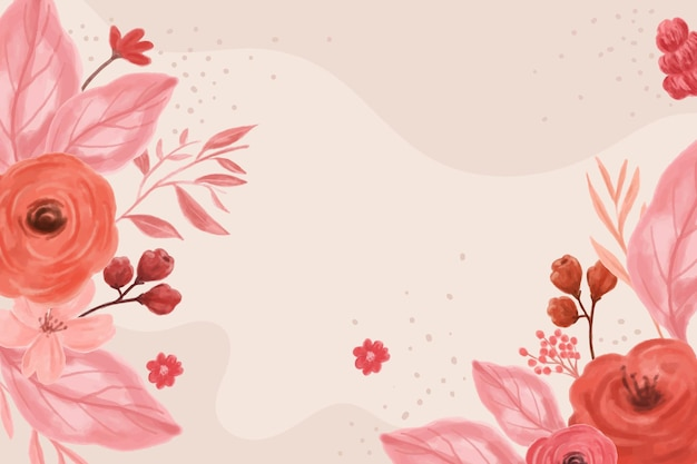 Background design with leaves and flowers