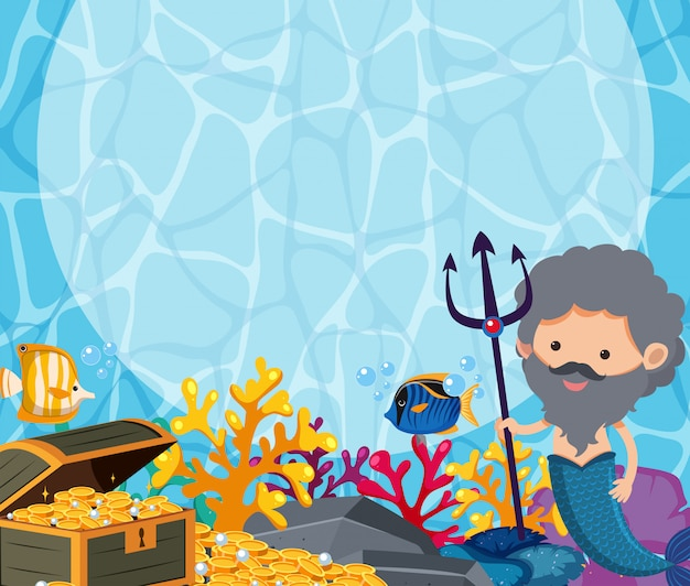 Background design with male mermaid and treasure