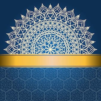 Background design with mandala on blue and golden line