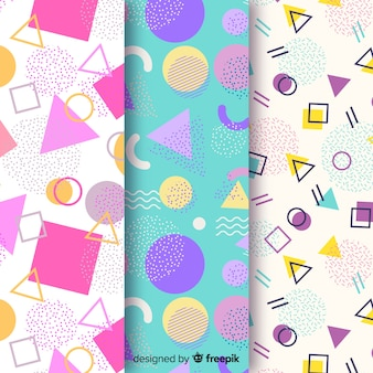Background design with memphis pattern collection