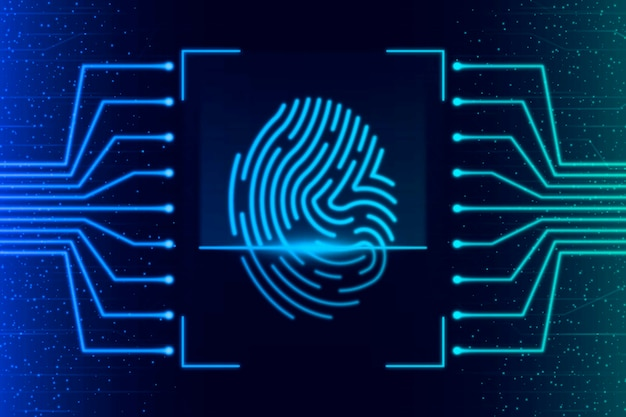 Background design with neon fingerprint