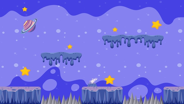 Background design with planet and stars