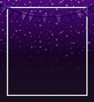 Background design with purple flags and frame