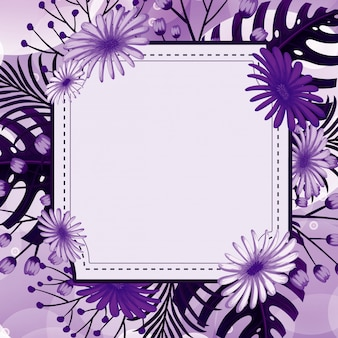 Background design with purple flowers