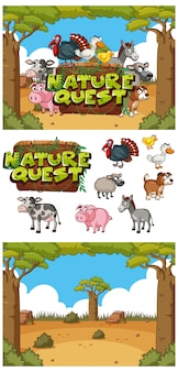 Background design with sign nature quest in the field