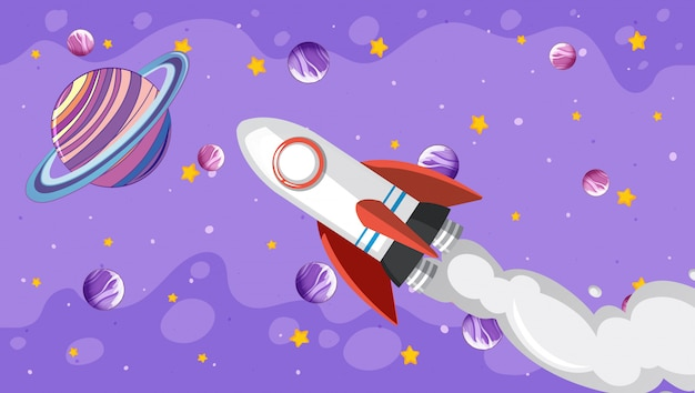 Background design with spaceship flying in the sky