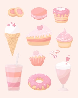 Background of desserts, sweet doodle icon