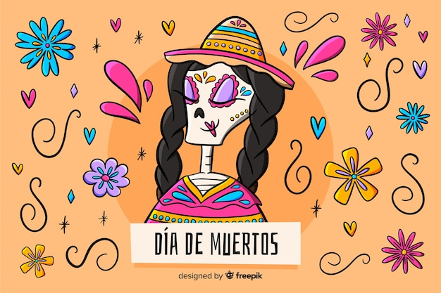 Background dia de muertos hand drawn
