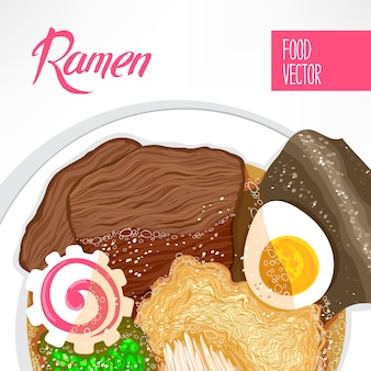 Background of dish with prepared ramen and place for text