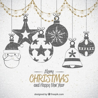 Background of drawings of christmas ornaments