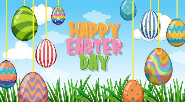 Background for easter with decorated eggs in garden
