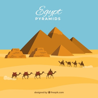 Background of egypt pyramids landscape with caravan of camels