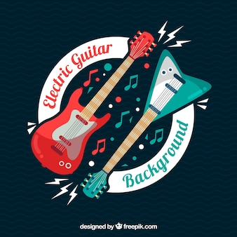 Background of electric guitars in flat design