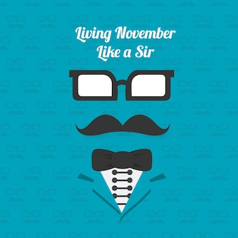 Background of elegant elements with mustache