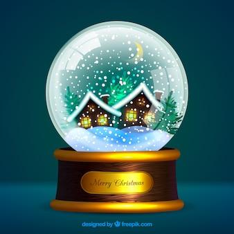Sfondo di snowglobe elegante con case