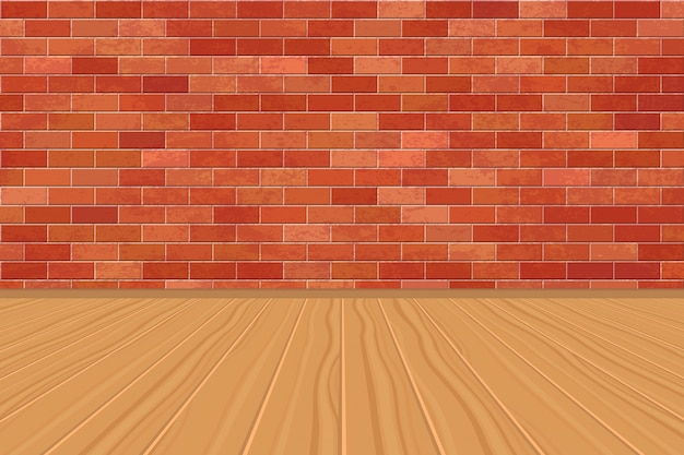 Background of empty room with bricks wall and wooden floor
