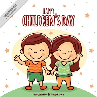 Background of enjoyable children couple