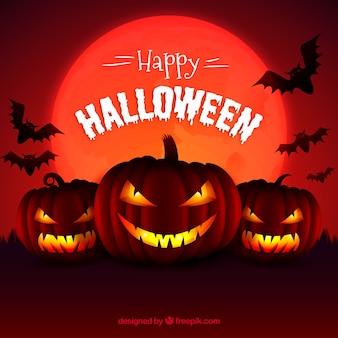 Background of evil pumpkins in reddish tones