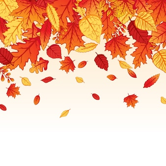 Background falling autumn leaves with colorful hand drawn style