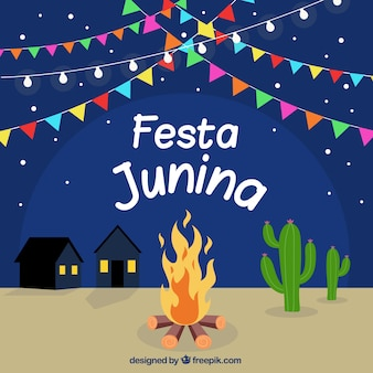 Background of festa junina with campfire at night