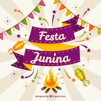 Background of festa junina with flat elements