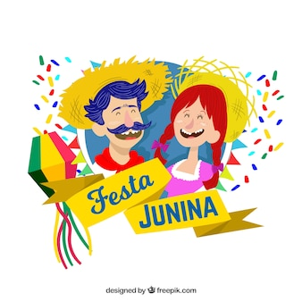 Background of festa junina with people smiling