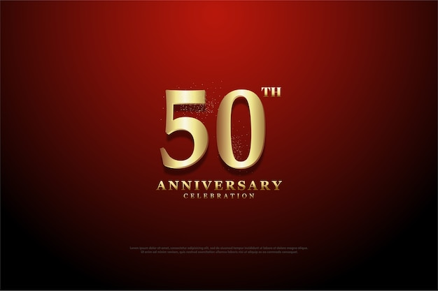 The background of the fiftieth anniversary has a mix of red and dark all around it