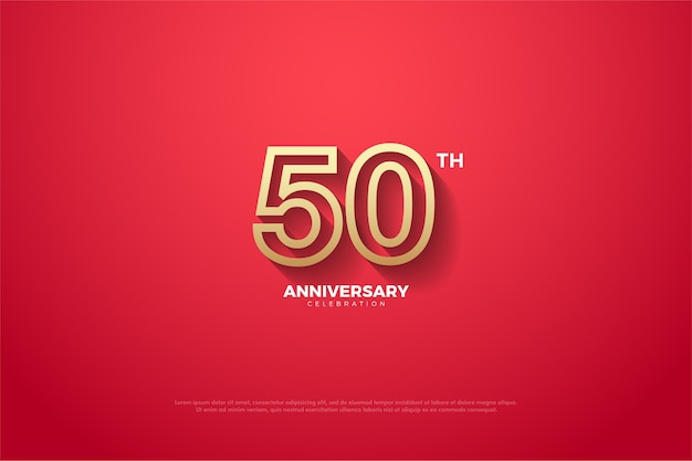 The background for the fiftieth anniversary is red and the number has a gold stripe on the edge of the number