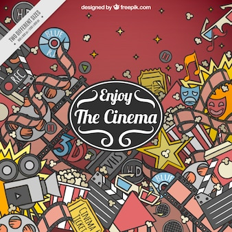 Background filled with hand drawn cinema elements