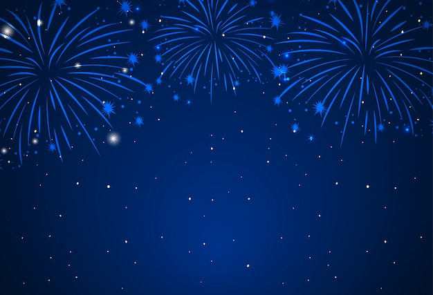 Background of fireworks in dark sky