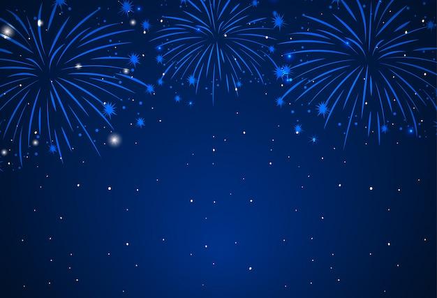 Background of fireworks in dark sky