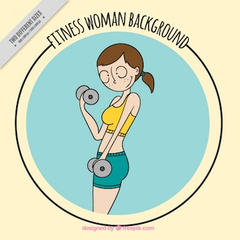 Background of fitness woman sketch