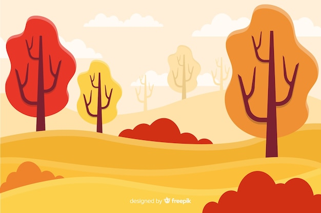 Background of flat autumn landscape
