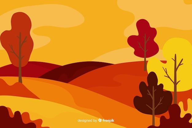 Background of flat autumn landscape