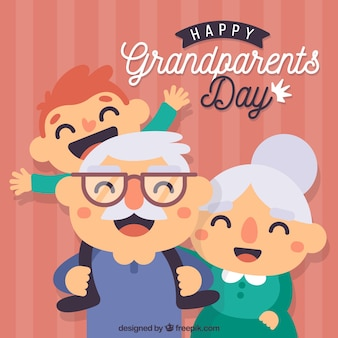 Background in flat design of grandparents day with his grandson