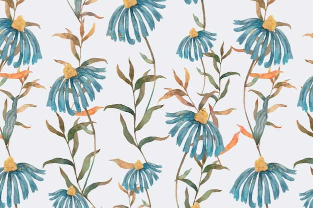 Background of floral pattern with blue watercolor flowers illustration