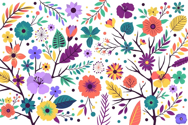 Background floral pattern with bright exotic flowers