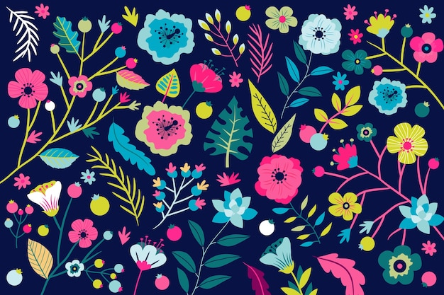 Background floral pattern with bright tropical flowers