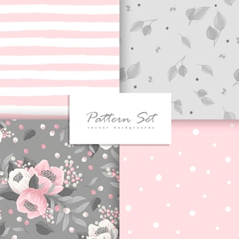 Background floral seamless pattern set